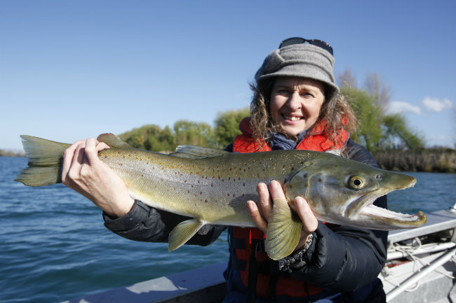 Aimee Mirfin with brown trout 650